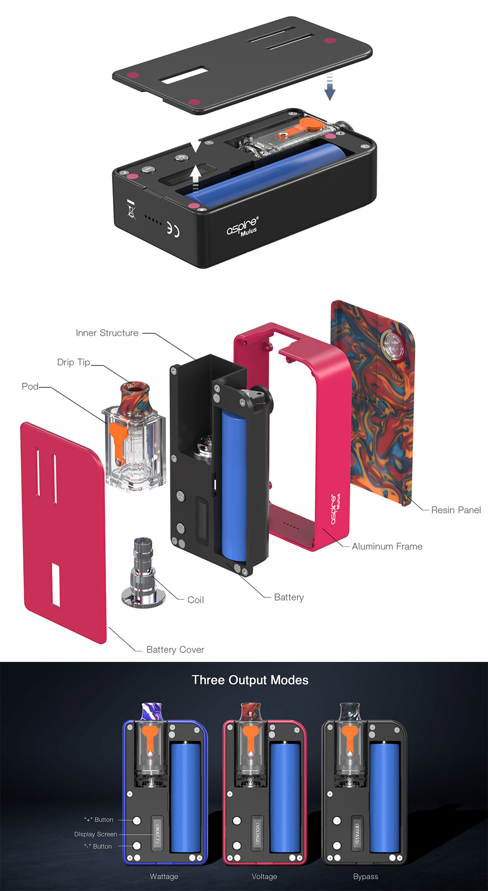 aspire mulus kit component and package