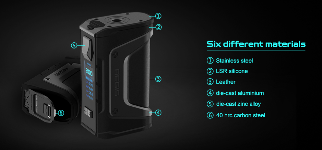 GeekVape Aegis Legend TC Box Mod Six different materials
