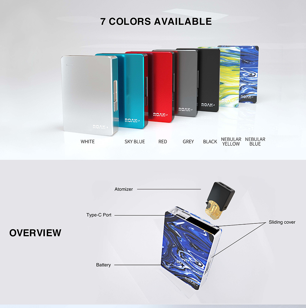 Myvapors Roak Box Pod Kit 7 colors
