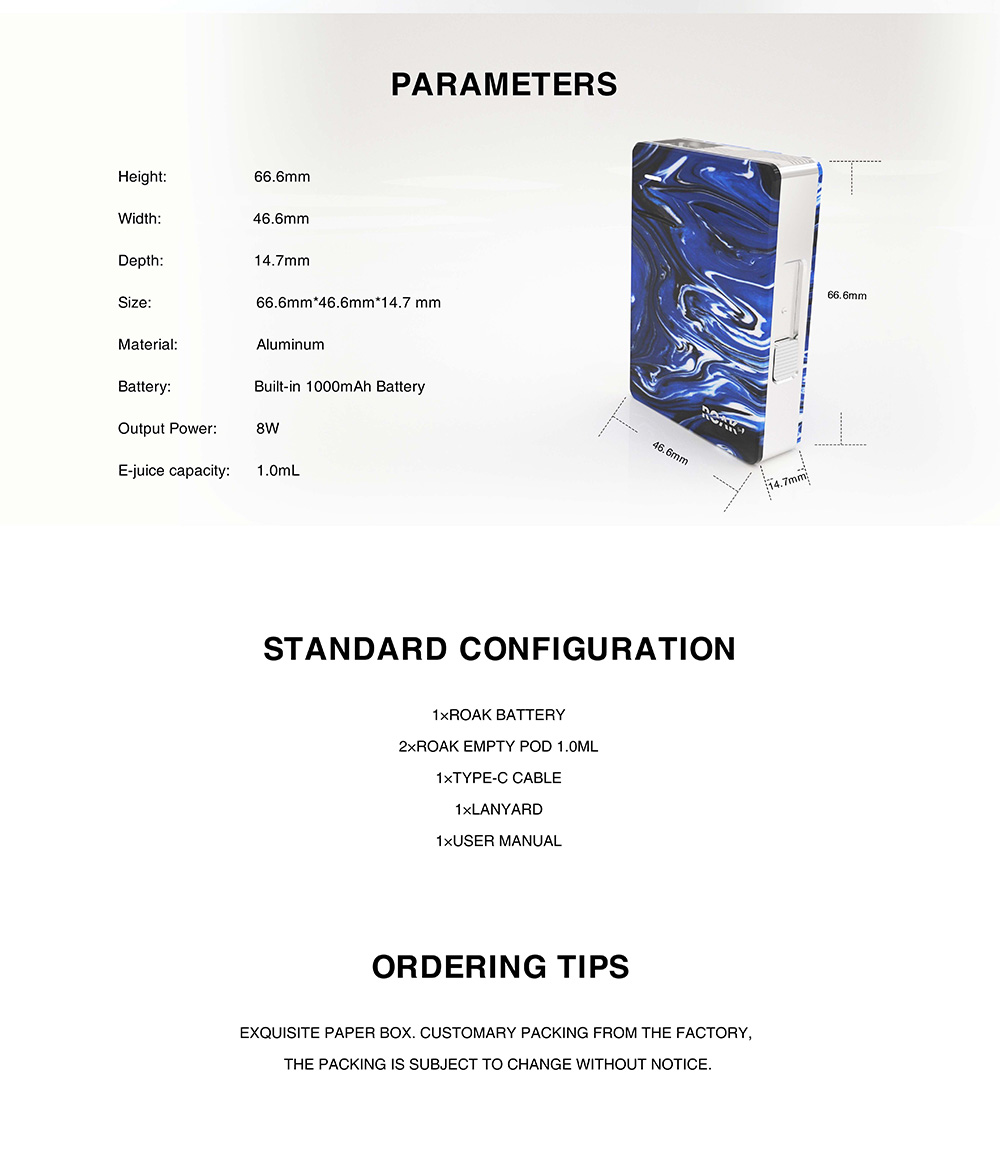 Myvapors Roak Box Pod Kit parameters