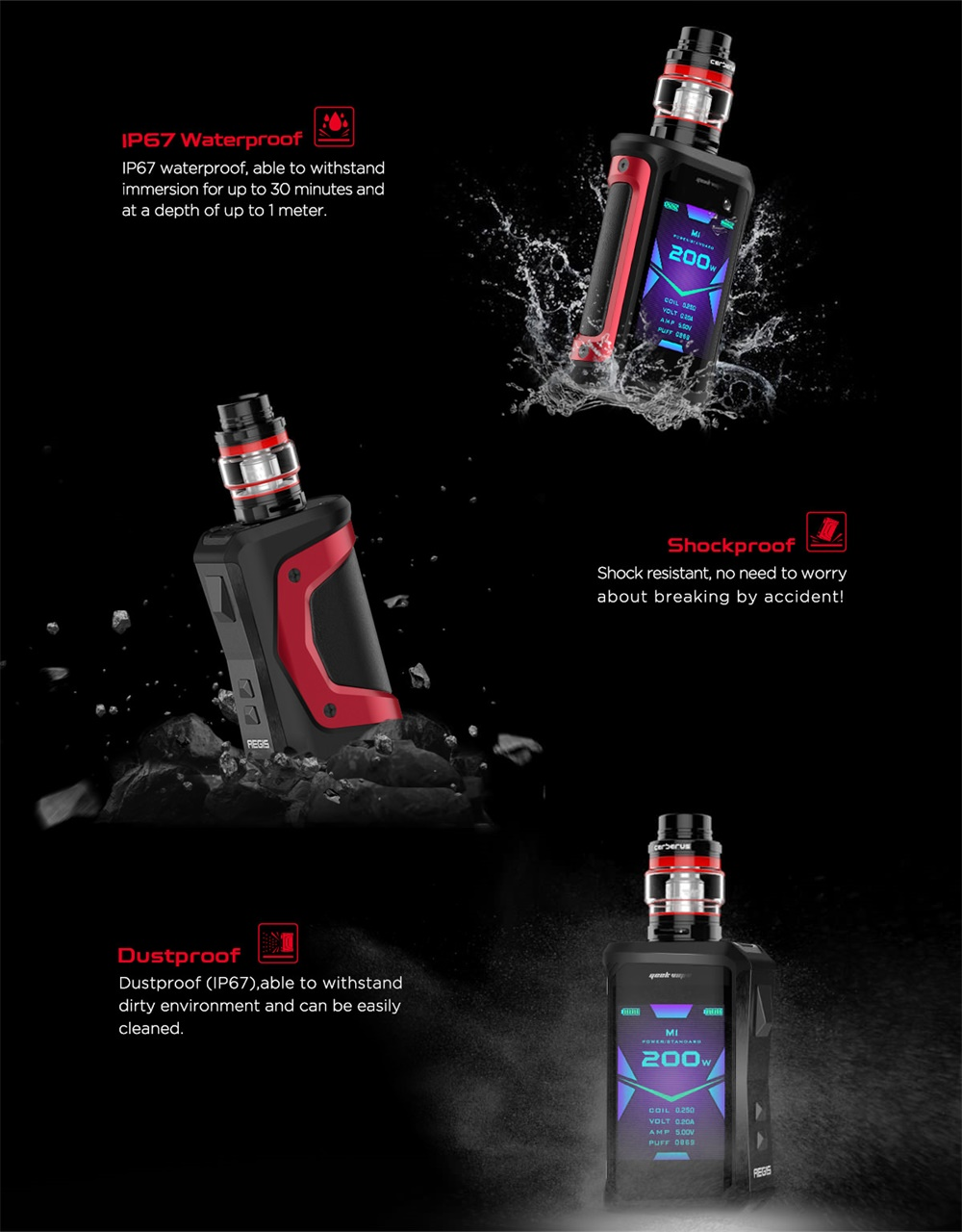 Geekvape Aegis X Kit IP67 waterproof /shockproof/dustproof