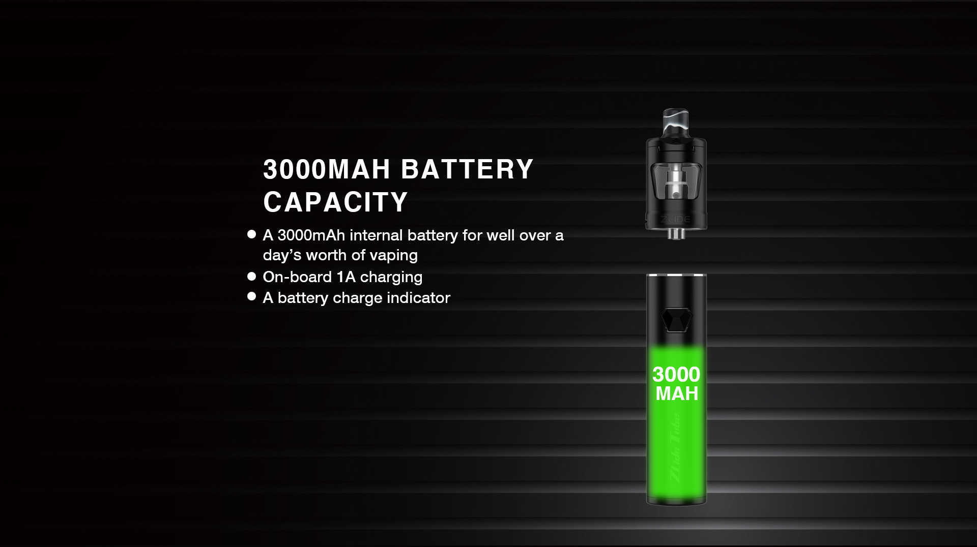 zlide tube kit 3000mah battery capacity