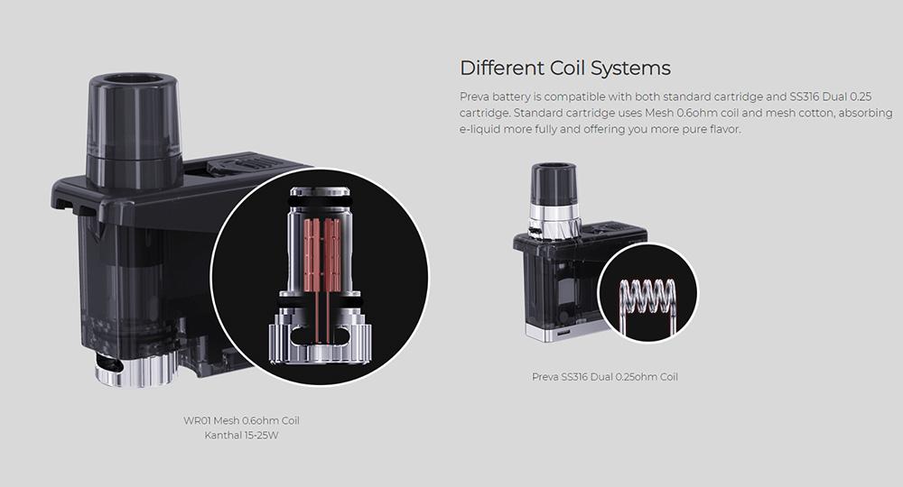 Wismec Preva pod kit different coil systems