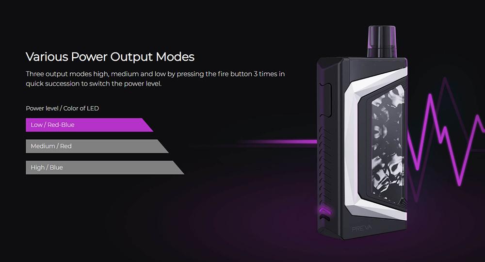 Wismec Preva pod kit various power output mods