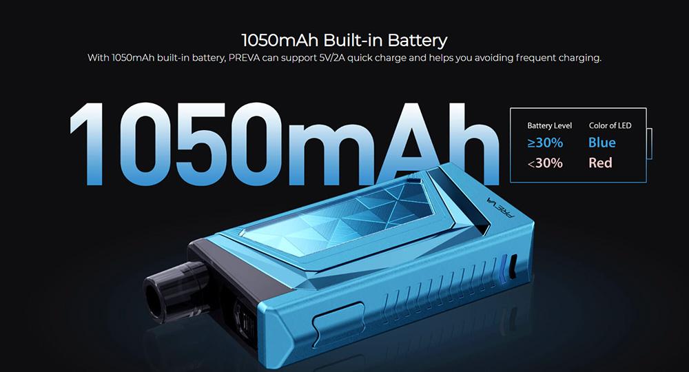 Wismec Preva pod kit 1050mAh battery