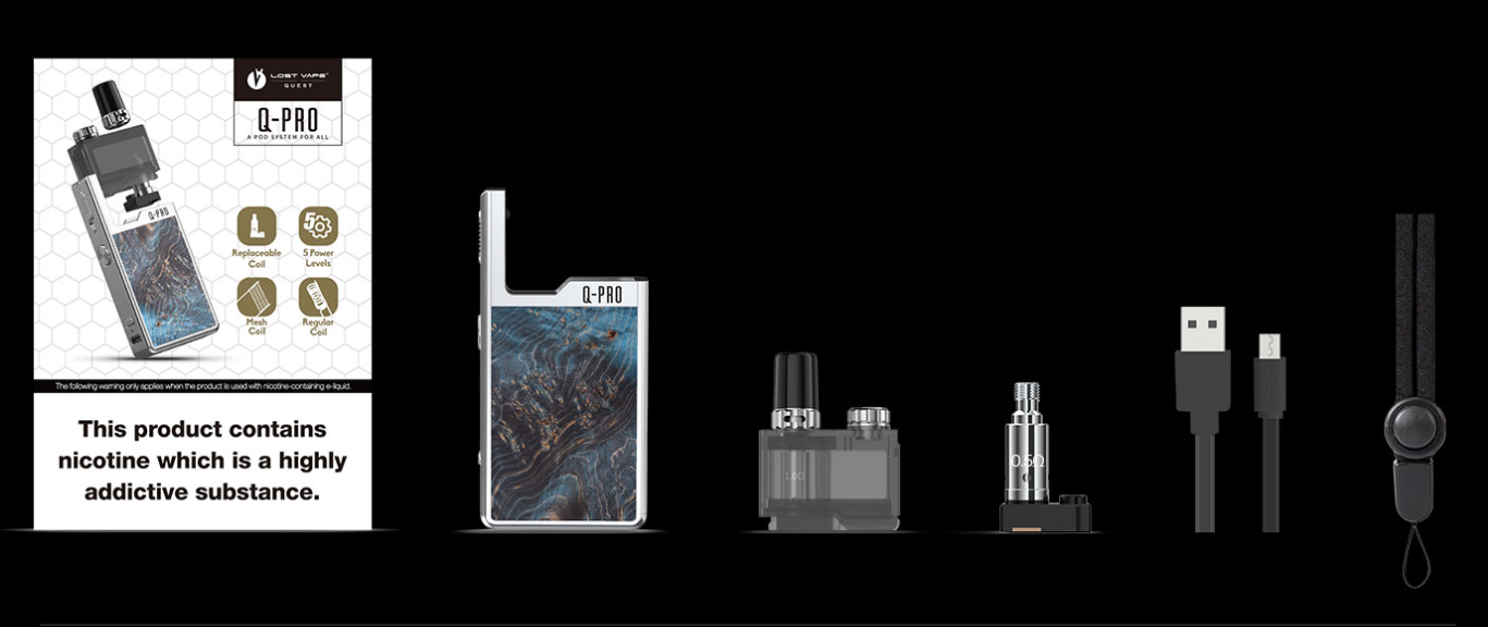 Lost Vape Orion Q PRO Pod System Kit package contents