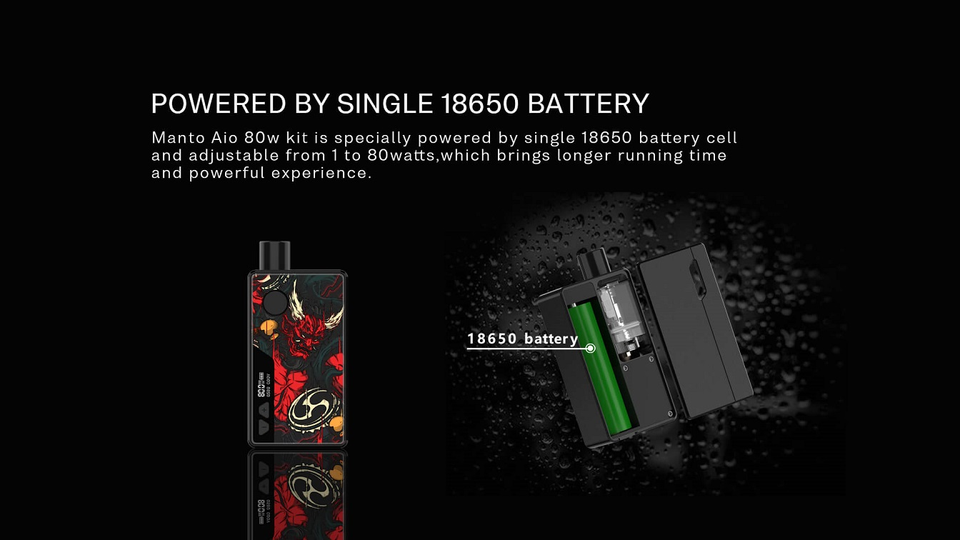 Rincoe Manto AIO Pod Kit Powered by single 18650 battery