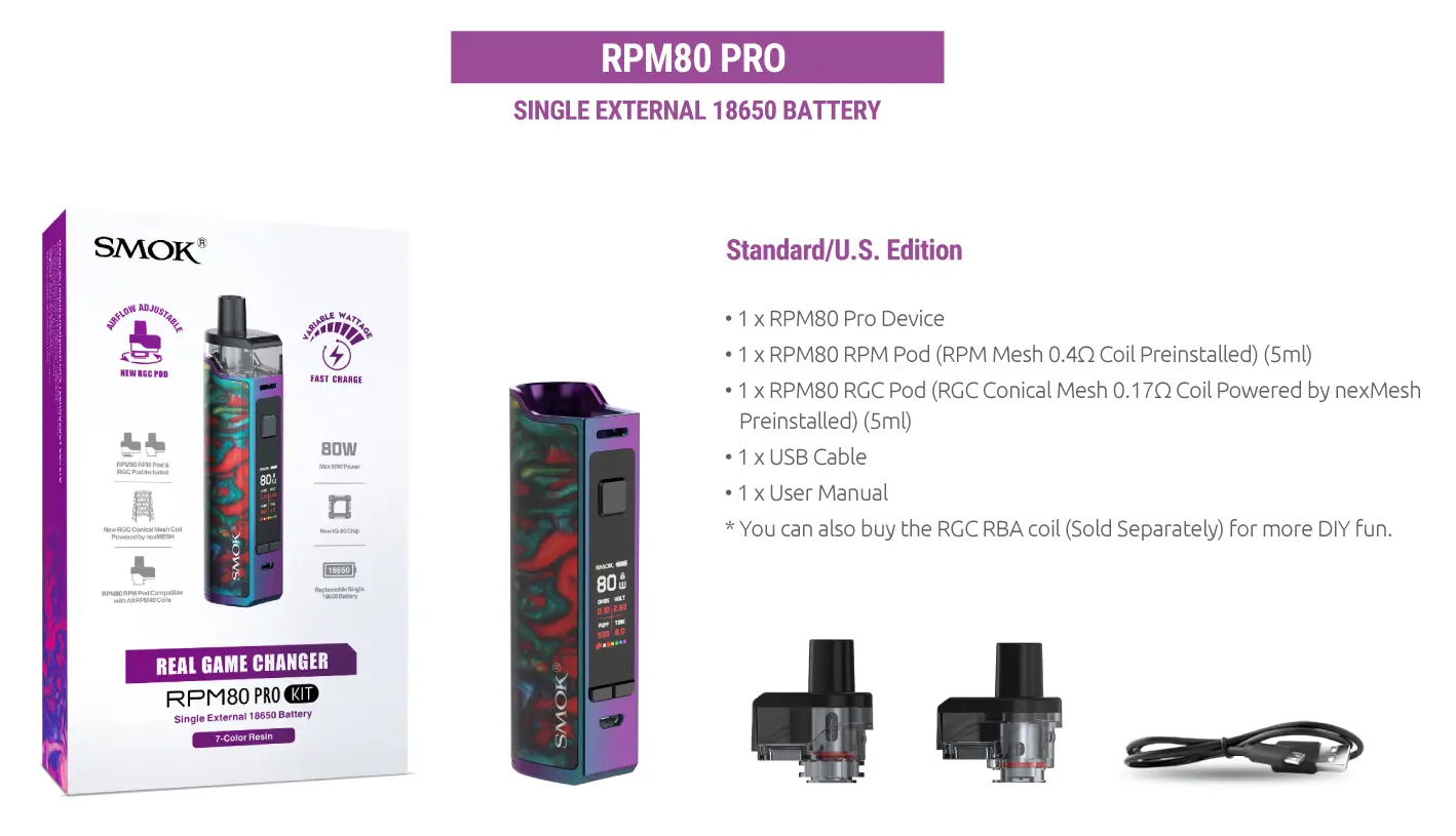SMOK RPM80 Pro Kit Package Contents