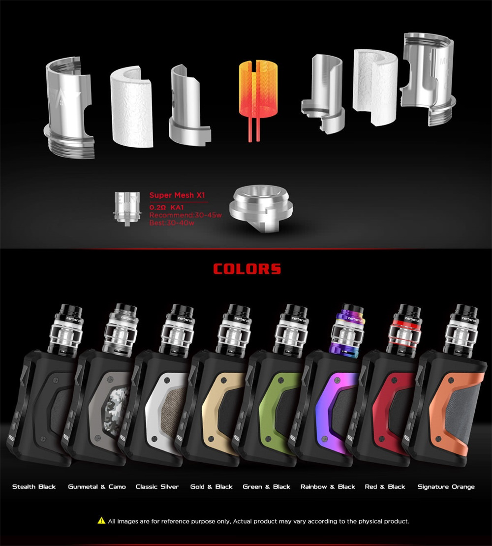 Geekvape Aegis X Kit component and colors