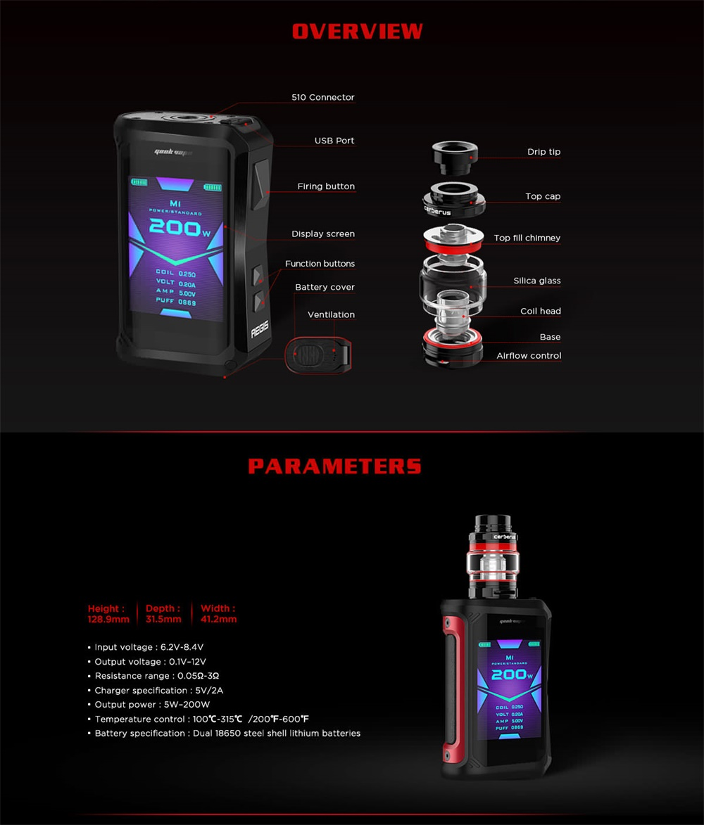 Geekvape Aegis X Kit parameters