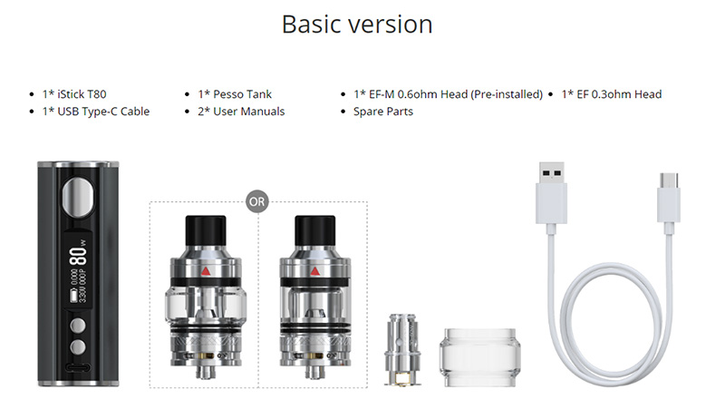 Eleaf iStick T80 Kit 80W package