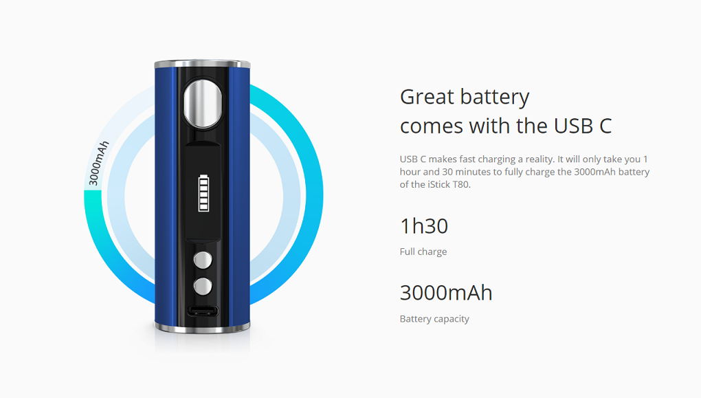 Eleaf iStick T80 Mod Great battery comes with the USB C