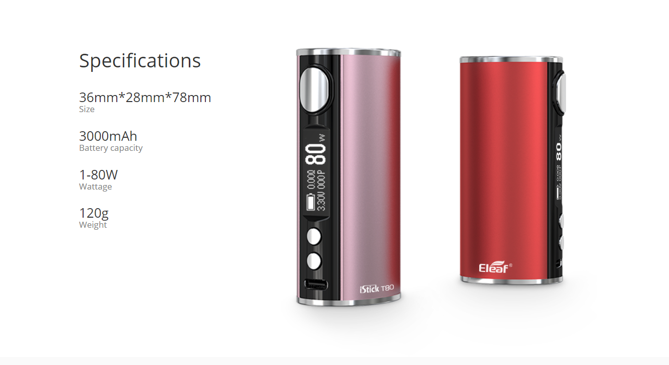 Eleaf iStick T80 Mod Specifications