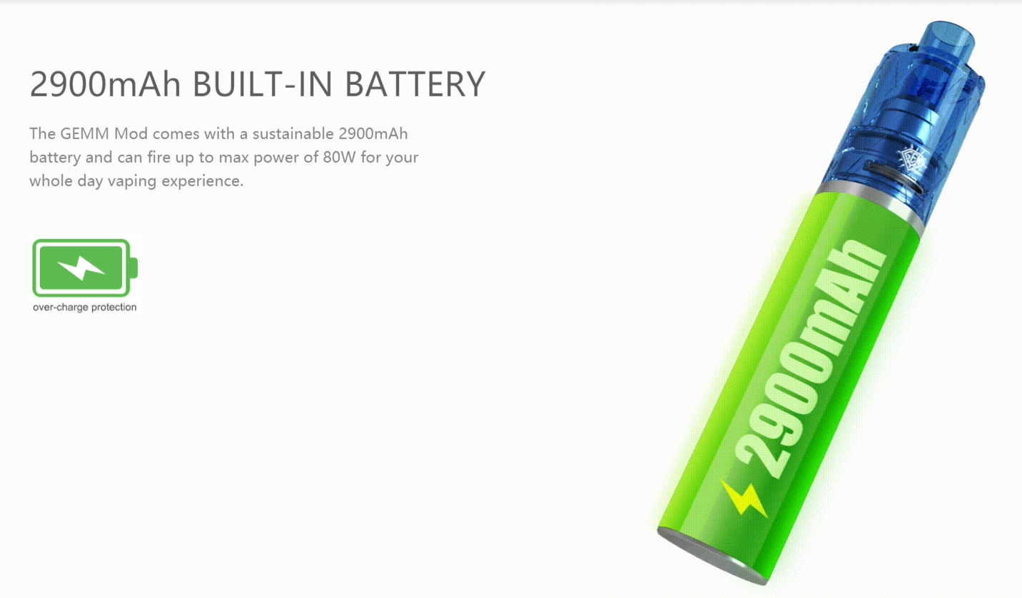 Freemax Gemm 2900mah built-in battery