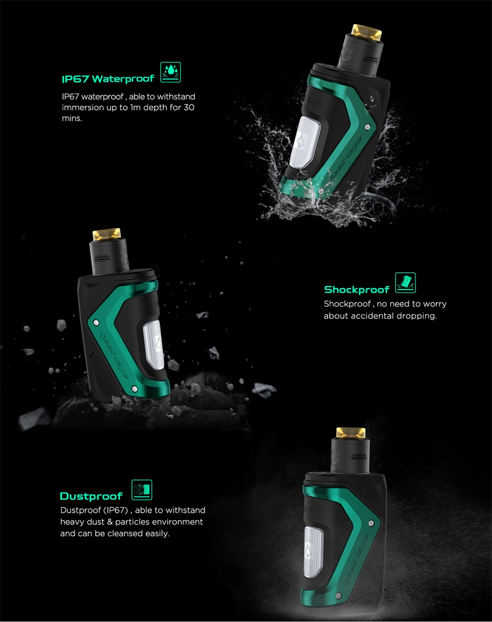 GeekVape Aegis Squonker Kit IP67 waterproof, shockproof and dustproof