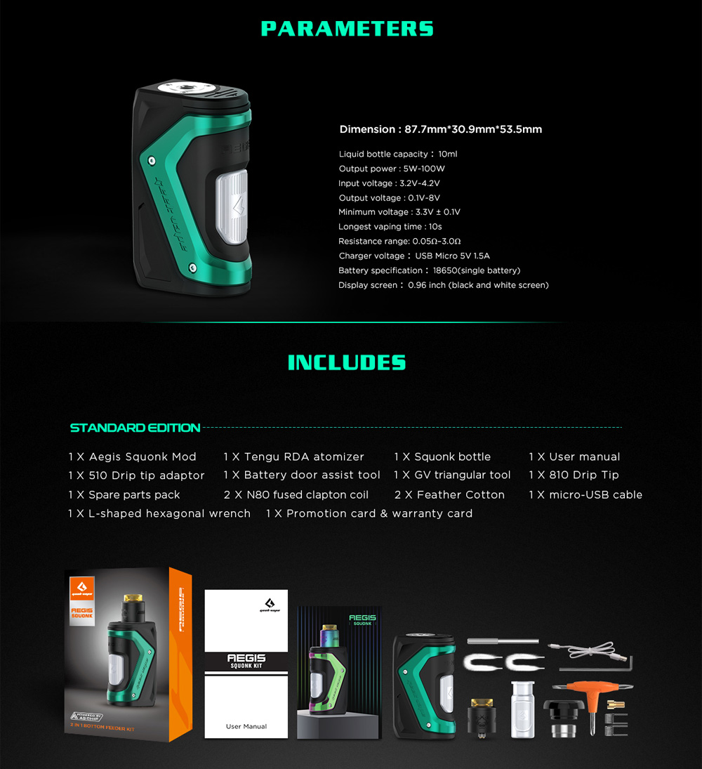 GeekVape Aegis Squonker Kit parameters and package