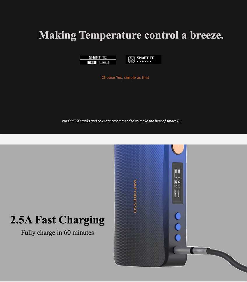 Vaporesso GEN TC Box Mod temperature control and fast charging