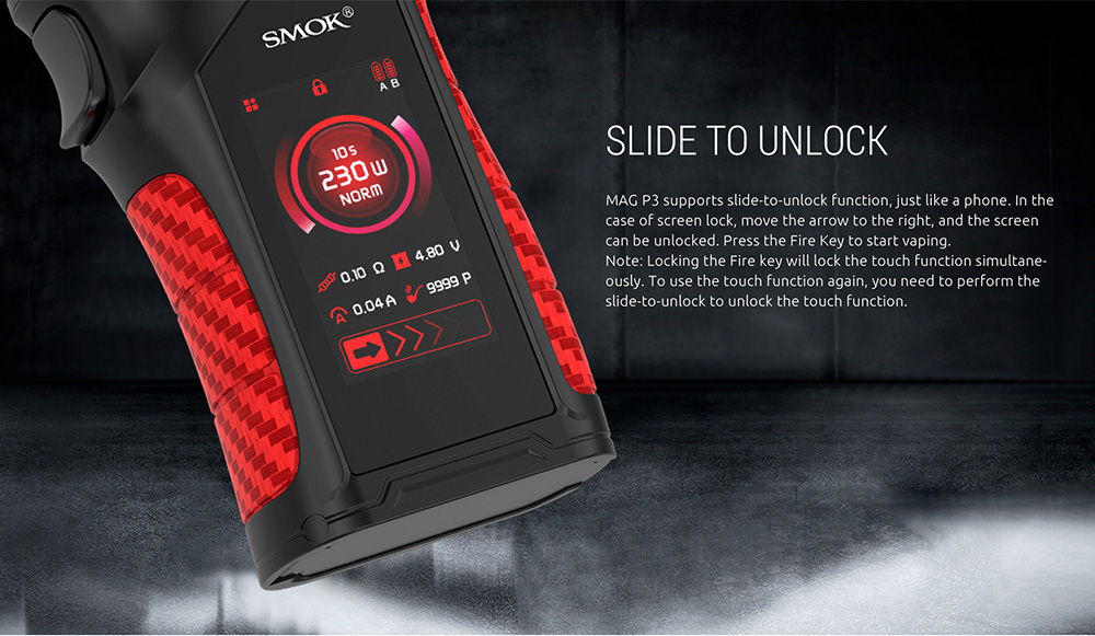 Smok Mag P3 Kit Slide To Unlock