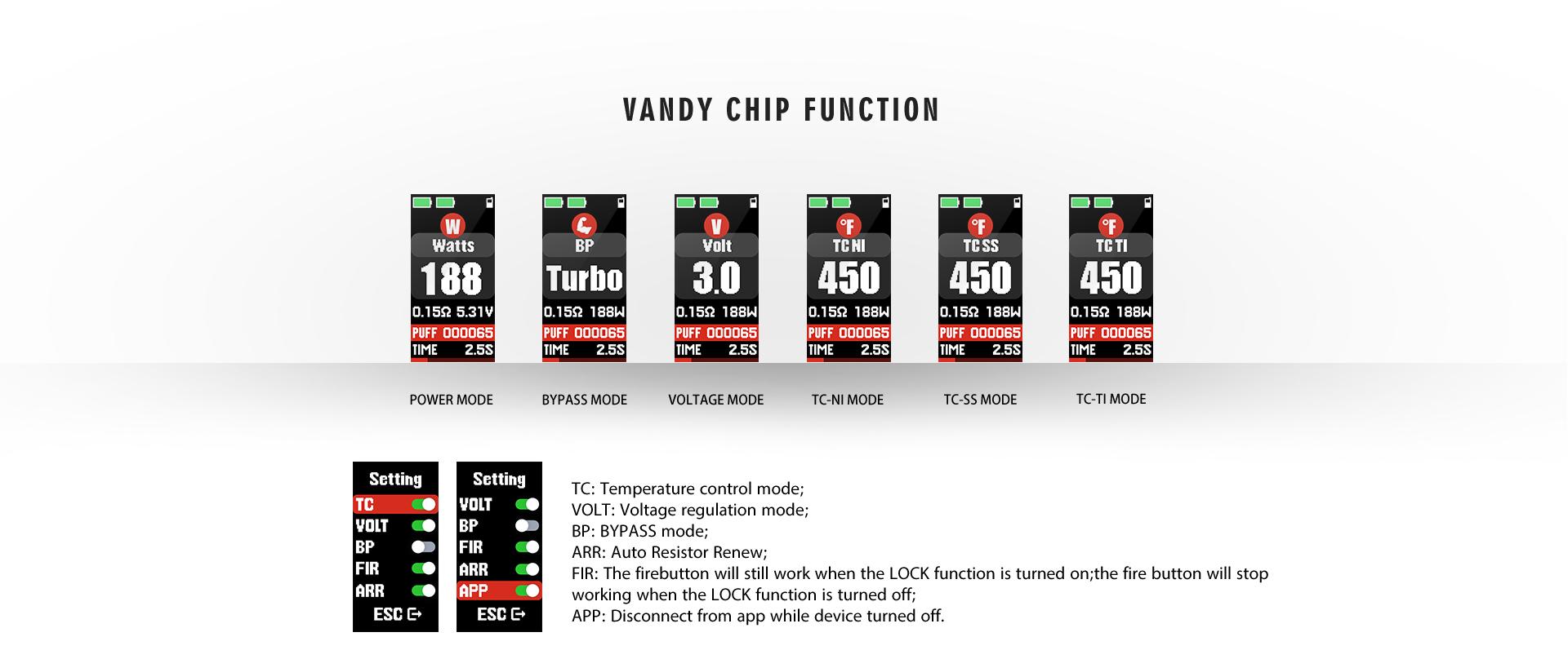 Vandy Vape Gaur-21 Mod - Vandy Chip Function