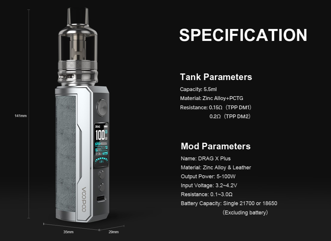 DRAG X Plus Specification
