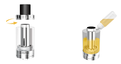 aspire cleito tank in vapesourcing top filling design