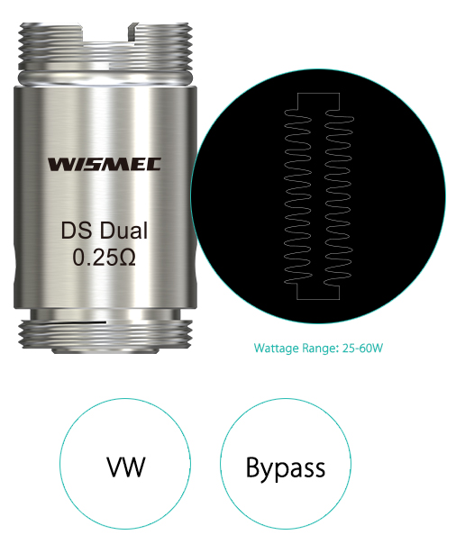 high quality Wismec DS Dual 0.25ohm Head
