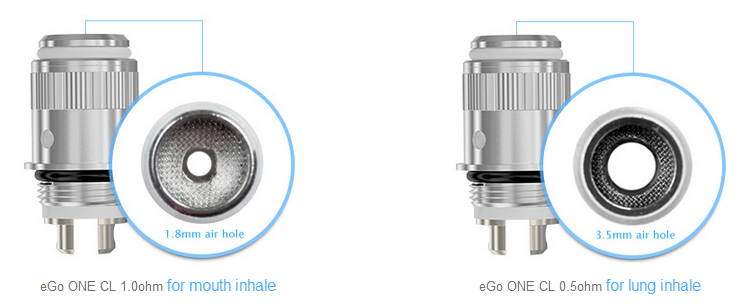 2choices of joyetech ego one cl atomizer head 1.0ohm/0.5ohm
