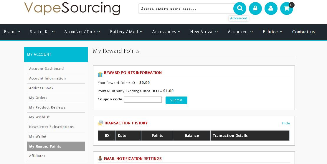 credit points in vapesourcing