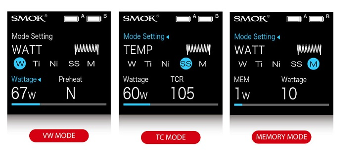 SMOK S-PRIV Kit modes