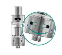 The amount of airflow can easily be adjusted by rotating the flexible airflow control ring on the atomizer base so as to get different vaping experiences.