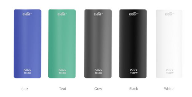 the istick 60W battery covers come with 5colors: black , silver, magic blue, blue and teal.